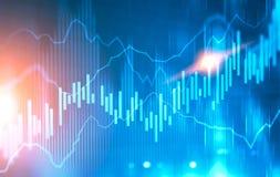 Glühende Diagramme gegen unscharfen blauen Hintergrund Lizenzfreie Stockfotos