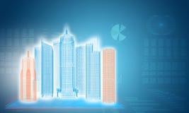 Glühende Drahtrahmengebäude auf transparenten Flächen Stockfotos