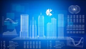 Glühende Drahtrahmengebäude auf transparenter Fläche Lizenzfreie Stockfotos