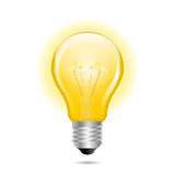 Glühende gelbe Glühlampe als Inspirationskonzept Stockbild