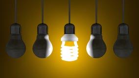 Glühende gewundene Glühlampe unter totem Wolfram eine, die am Gelb hängen stock abbildung