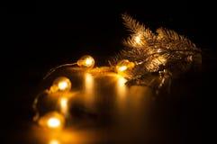 Glühende Girlande des neuen Jahres Stockfotografie