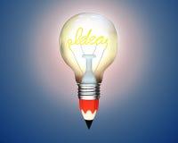 Glühende Glühlampe des Bleistifts mit der Wortidee Stockfoto