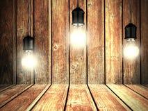 Glühende Glühlampen mit hölzerner Wand Geometrische Verzierung auf einem alten Papier Stockfoto