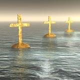 Glühende goldene Kreuze Stockbild