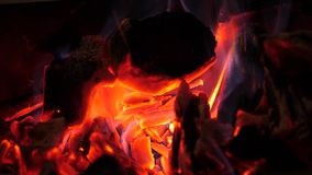 Glühende helle rote brennende Kohlen brennen hell und Glühen Feuerhitzebrennholz brennt rotes blaues Feuer nahaufnahme stock video footage