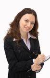 Glühende junge Geschäftsfrau Stockfotos