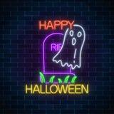 Glühende Leuchtreklame von Halloween-Fahne entwerfen mit Geist vom Grab Helle furchtsame Erscheinung Halloweens unterzeichnen her vektor abbildung