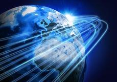 Glühende Linien und Erde Hightech- Hintergrund Stockbilder