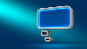 Glühende Neonblase bewölken sich auf blauem Hintergrund, Illustration 3d Lizenzfreies Stockbild
