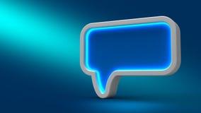 Glühende Neonspracheblase auf blauem Hintergrund, Stockbild
