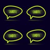 Glühende Neonspracheblasenikone für Text zitieren vektor abbildung