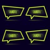 Glühende Neonspracheblasenikone für Text zitieren lizenzfreie abbildung