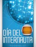 Glühende Network Connections und Astronaut Helmet für spanischen Internaut-Tag, Vektor-Illustration Lizenzfreies Stockfoto