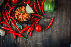Glühende Paprikapfeffer mit der rohen Salsa tauchen - heiß und geschmackvoll ein lizenzfreies stockbild