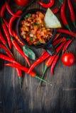 Glühende Paprikapfeffer mit der rohen Salsa tauchen - heiß und geschmackvoll ein lizenzfreie stockbilder