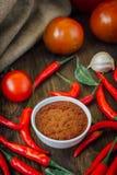 Glühende Paprikapfeffer und Salsa oder adjika in der weißen keramischen Schüssel Lizenzfreies Stockfoto