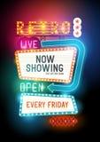 Glühende Retro- Show-Zeichen Stockfotos