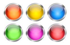 Glühende runde Web-Tasten Lizenzfreie Stockfotos