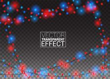 Glühende Weihnachtslichter auf transparentem Hintergrund Färben Sie festliche Dekorationen Girlanden Weihnachtsfeiertags Vektor Lizenzfreie Stockfotografie