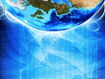 Glühende Zahlen und Erde Hightech- Hintergrund Stockfotos