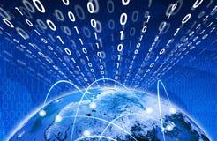 Glühende Zahlen und Erde Hightech- Hintergrund Stockfotografie