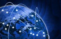 Glühende Zahlen und Erde Hightech- Hintergrund Stockbilder