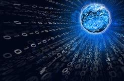 Glühende Zahlen und Erde Hightech- Hintergrund Lizenzfreies Stockbild