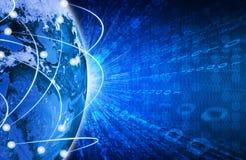 Glühende Zahlen und Erde Hightech- Hintergrund Lizenzfreie Stockfotografie