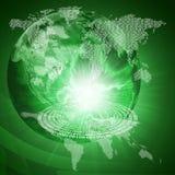 Glühende Zahlen und Erde Hightech- Hintergrund Stockfoto
