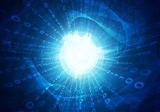 Glühende Zahlen und Wellen Hightech- Hintergrund Lizenzfreies Stockbild