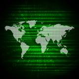 Glühende Zahlen und Weltkarte Hightech- Hintergrund Stockfoto