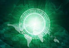 Glühende Zahlen und Weltkarte Hightech- Hintergrund Stockfotografie