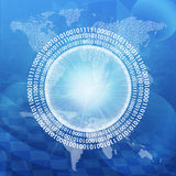 Glühende Zahlen und Weltkarte Hightech- Hintergrund Stockbild