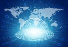 Glühende Zahlen und Weltkarte Hightech- Hintergrund lizenzfreie abbildung