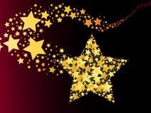 Glühender abstrakter Kometenschießen-Goldstern Lizenzfreie Stockfotos