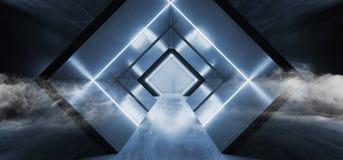Glühender blaues geformtes Leuchtstoff Retro- modernes elegantes ausländisches Raumschiff-dunkler Untertagekorridor Rauch-Neonlic vektor abbildung