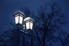 Glühender brennender Schnee bedeckte Laterne auf Eisensäule auf schwarzen Bäumen ohne Laub und blaue Nacht oder Glättung des Hint lizenzfreie stockfotos