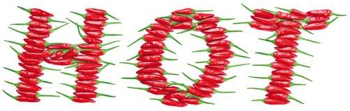 Glühender Chili Peppers Lettering HEISS Stockfoto