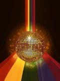 Glühender Discoball über Regenbogenporträthintergrund Stockbild