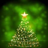 Glühender Goldweihnachtsbaum Stockfoto