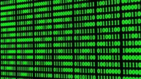 Glühender grüner binärer digitaler Codezusammenfassungshintergrund mit nach dem Zufall ändernden null und einen vektor abbildung
