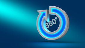 Glühender großer 360-Grad-Neonpfeil auf dem Tisch, auf blauem Hintergrund, Lizenzfreies Stockbild