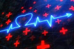 Glühender Herzschlaghintergrund lizenzfreie abbildung