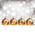 Glühender Hintergrund des Winters mit den Bällen, die Verkauf beschriften Stockfoto