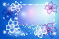 Glühender Hintergrund mit transparenten Blumen vektor abbildung