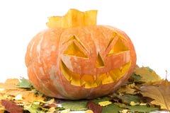 Glühender Kürbis Halloween auf Isolierung stockbilder
