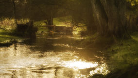 Glühender ländlicher Strom mit der Sonne, die weg vom Wasser scheint Stockfotografie