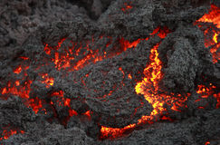 Glühender Lavafluß, Vulkan Pacaya stockfotografie