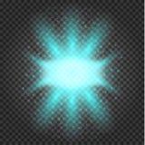 Glühender Lichteffekt, Aufflackern, Explosion und Sterne stock abbildung